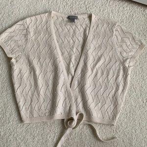 Ann Taylor cropped silk blend tie top sequins SML